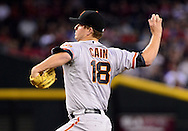Sep. 14, 2012; Phoenix, AZ, USA; San Francisco Giants pitcher Matt Cain (18) pitches during the game against the Arizona Diamondbacks in the first inning at Chase Field.  Mandatory Credit: Jennifer Stewart-US PRESSWIRE