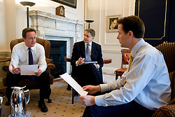 Britain's new Prime Minister David Cameron during a meeting with the Deputy Prime Minster Nick Clegg at Number 10 Downing St, London, Wednesday May 12, 2010 . Photo By Andrew Parsons/i-Images
