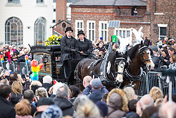 © Licensed to London News Pictures. 28/03/2018. Liverpool, UK. The horse drawn cortege arrives at Liverpool Cathedral for the funeral of comedian and performer Sir Ken Dodd , who died on 11th March 2018 at the age of 90 . Photo credit: Joel Goodman/LNP