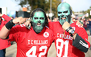 Fans prior to kick off during the Buffalo Bills v Jacksonville Jaguars NFL International Series match at Wembley Stadium, London, England on 25 October 2015. Photo by Matthew Redman.