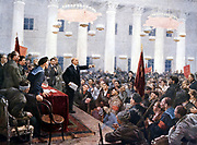 Russian Revolution, October 1917. Vladimir Ilyich Lenin (Ulyanov - 1870-1924) haranguing the deputies of the Second Soviet Congress in the Smolny Palace, St Petersburg.