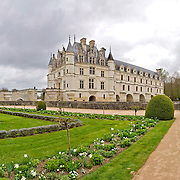 Ornate gardens at Chateau de Chenonceau