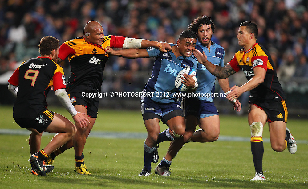 Francis Saili of the Blues charges forward during the Super Rugby game between The Blues and The Chiefs, North Harbour Stadium, Auckland, New Zealand, Saturday June 2nd 2012. Photo: Simon Watts / photosport.co.nz