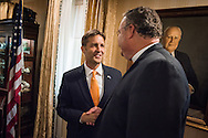 U.S. Senator Ben Sasse shakes hands with the Rev. Dr. Matthew C. Harrison, president of The Lutheran Church–Missouri Synod, at a Let's Talk Life, Marriage and Religious Liberty event on Tuesday, September 8, 2015, a the Capitol Hill Club in Washington, D.C. LCMS Communications/Erik M. Lunsford