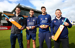 Matt Taylor and David Payne of Gloucestershire CCC help launch the Bristol Sport Foundation partnership with Gloucestershire County Cricket Board - Mandatory by-line: Robbie Stephenson/JMP - 11/09/2017 - CRICKET - Brightside County Ground - Bristol, England - - Bristol Sport Foundation Cricket Launch