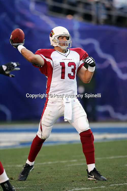 SAN DIEGO - DECEMBER 31:  Quarterback Kurt Warner #13 of the Arizona Cardinals unloads a pass in relief of injured starting QB Matt Leinart against the San Diego Chargers at Qualcomm Stadium on December 31, 2006 in San Diego, California. The Chargers defeated the Cardinals 27-20 to secure the number one seed in the AFC playoffs. ©Paul Anthony Spinelli *** Local Caption *** Kurt Warner