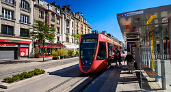 Passengers board a tram in the Ruse de Vesle, Reims, France<br /> <br /> (c) Andrew Wilson | Edinburgh Elite media