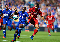 LEICESTER, ENGLAND - Saturday, September 1, 2018: Liverpool's Roberto Firmino and Leicester City's Nampalys Mendy during the FA Premier League match between Leicester City and Liverpool at the King Power Stadium. (Pic by David Rawcliffe/Propaganda)