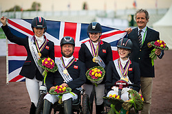 Team GBR World Champion Team Test Para Dressage team members Sophie Wells, Lee Pearson, Natasha Baker, Sophie Cristiansen - Alltech FEI World Equestrian Games™ 2014 - Normandy, France.<br /> © Hippo Foto Team - Jon Stroud <br /> 25/06/14