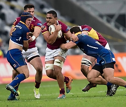 Southland's Bill Fukofuka, centre, takes the ball forward against Otago in the Mitre 10 Cup rugby match, Forsyth Barr Stadium, Dunedin, New Zealand, Sunday, October 14 2017.  Credit:SNPA / Adam Binns ** NO ARCHIVING**