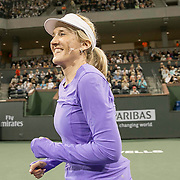 March 7, 2015, Indian Wells, California:<br /> Tracy Austin is introduced during the McEnroe Challenge for Charity presented by Masimo in Stadium 2 at the Indian Wells Tennis Garden in Indian Wells, California Saturday, March 7, 2015.<br /> (Photo by Billie Weiss/BNP Paribas Open)