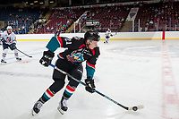 KELOWNA, CANADA - SEPTEMBER 5: Kyle Pow #21 of the Kelowna Rockets skates with the puck over centre against the Kamloops Blazers on September 5, 2017 at Prospera Place in Kelowna, British Columbia, Canada.  (Photo by Marissa Baecker/Shoot the Breeze)  *** Local Caption ***