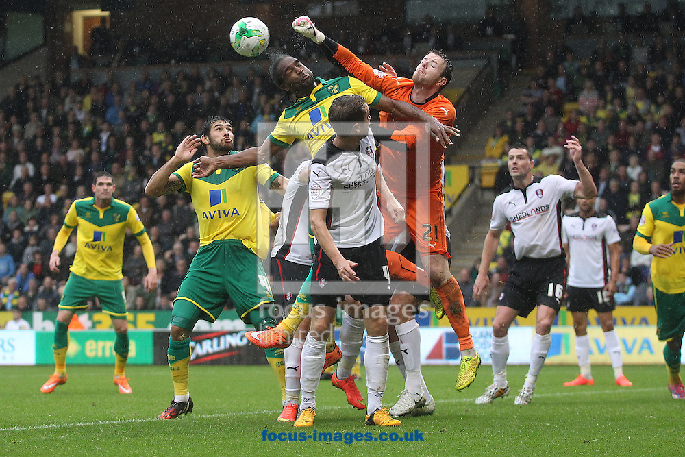 Adam Collin of Rotherham United punches clear ahead of Cameron Jerome of Norwich during the Sky Bet Championship match at Carrow Road, Norwich<br /> Picture by Paul Chesterton/Focus Images Ltd +44 7904 640267<br /> 04/10/2014