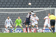 Rotherham Midfielder Richard Smallwood scows with a dipping shot(4) during the Sky Bet Championship match between Milton Keynes Dons and Rotherham United at stadium:mk, Milton Keynes, England on 9 April 2016. Photo by Dennis Goodwin.