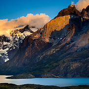 Sunrise looking to Paine Grande on the left and Los Cuernos on the right in Torres del Paine National Park is located in southern Chilean Patagonia.