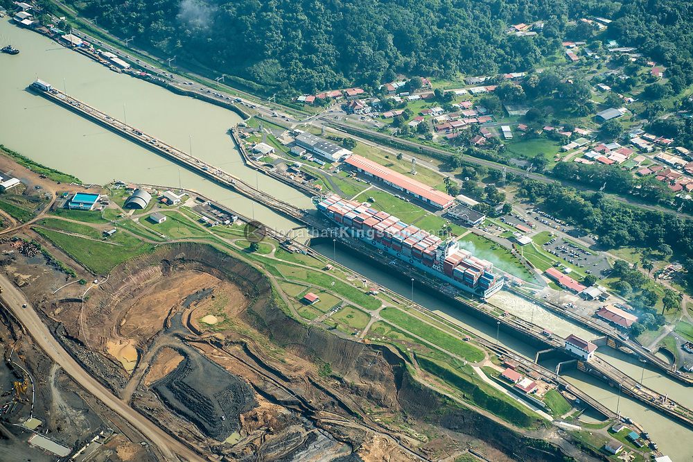 Aerial view of the Pedro Miguel locks on the Panama Canal, Panama.