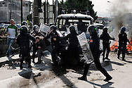 .ITALY, Terzigno : Police scatter demonstrators in Terzigno on October 18, 2010. Demontrators protest against the opening of a new dump on the slopes of Mount Vesuvius. AFP PHOTO / ROBERTO SALOMONE