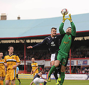Dundee's Kyle Benedictus challenges Dumbarton keeper Jamie Ewings - Dundee v Dumbarton, SPFL Championship, Helicopter Saturday at Dens Park<br /> <br />  - &copy; David Young - www.davidyoungphoto.co.uk - email: davidyoungphoto@gmail.com