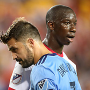 HARRISON, NEW JERSEY- AUGUST 25: Bradley Wright-Phillips #99 of New York Red Bulls and David Villa #7 of New York City FC during the New York Red Bulls Vs New York City FC MLS regular season match at Red Bull Arena, Harrison, New Jersey on August 25, 2017 in Harrison, New Jersey. (Photo by Tim Clayton/Corbis via Getty Images)