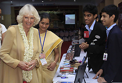 Camilla Parker Bowles (L), wife of British Prince Charles, visits the students of a public school in Kochi, India, Tuesday, 12th November 2013. Picture by  imago / i-Images<br /> UK ONLY