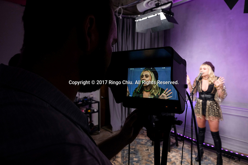 Singer Maty Noyes, right, in the studio of Sweety High, a company that markets to Generation Z girls (8-18).(Photo by Ringo Chiu)<br /> <br /> Usage Notes: This content is intended for editorial use only. For other uses, additional clearances may be required.