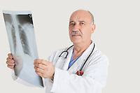 Portrait of senior doctor holding medical radiograph over gray background