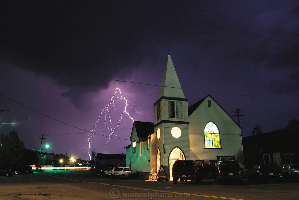 Lightning on Church Street, Truckee, California (near Squaw Valley). 1998.