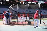 ANAHEIM, CA - MAY 17:  Mike Trout #27 of the Los Angeles Angels of Anaheim takes batting practice in the cage before the game against the Tampa Bay Rays at Angel Stadium on Saturday, May 17, 2014 in Anaheim, California. The Angels won the game in a 6-0 shutout. (Photo by Paul Spinelli/MLB Photos via Getty Images) *** Local Caption *** Mike Trout