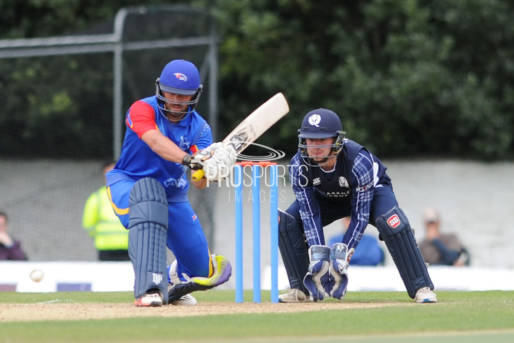 Namibia's JN FryLinck awaits the ball during the World Cricket League match between scotland and Namibia at Grange Cricket Club, Edinburgh, Scotland on 13 June 2017. Photo by Kevin Murray.