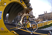 The Tour de France is coming to London in 2007. A time trial start gate stands in front of Westminster Abbey on Thursday 9th February 2006.