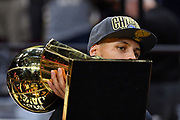 Jun 8, 2018; Cleveland, OH, USA; Golden State Warriors guard Stephen Curry (30) celebrates with the Larry O'Brien Championship Trophy after beating the Cleveland Cavaliers in game four of the 2018 NBA Finals at Quicken Loans Arena.