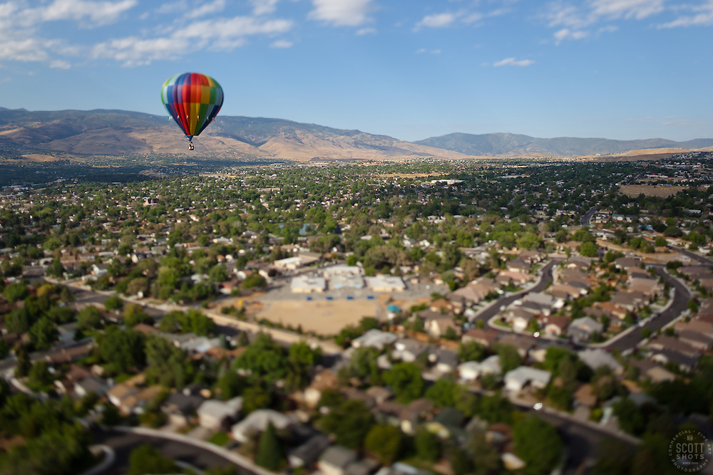 """""""Ballon Over Reno 6"""" - This hot air balloon was photographed from a balloon during the 2011 Great Reno Balloon Race. The """"toy"""" like effect was achieved using a tilt-shift lens."""