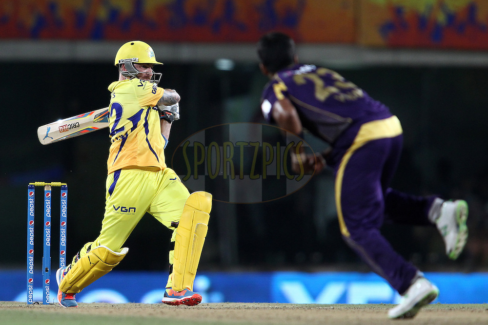 Brendon McCullum of The Chennai Super Kings  pulls a RanganathVinay Kumar of the Kolkata Knight Riders  delivery during match 21 of the Pepsi Indian Premier League Season 2014 between the Chennai Superkings and the Kolkata Knight Riders  held at the JSCA International Cricket Stadium, Ranch, India on the 2nd May  2014<br /> <br /> Photo by Shaun Roy / IPL / SPORTZPICS<br /> <br /> <br /> <br /> Image use subject to terms and conditions which can be found here:  http://sportzpics.photoshelter.com/gallery/Pepsi-IPL-Image-terms-and-conditions/G00004VW1IVJ.gB0/C0000TScjhBM6ikg