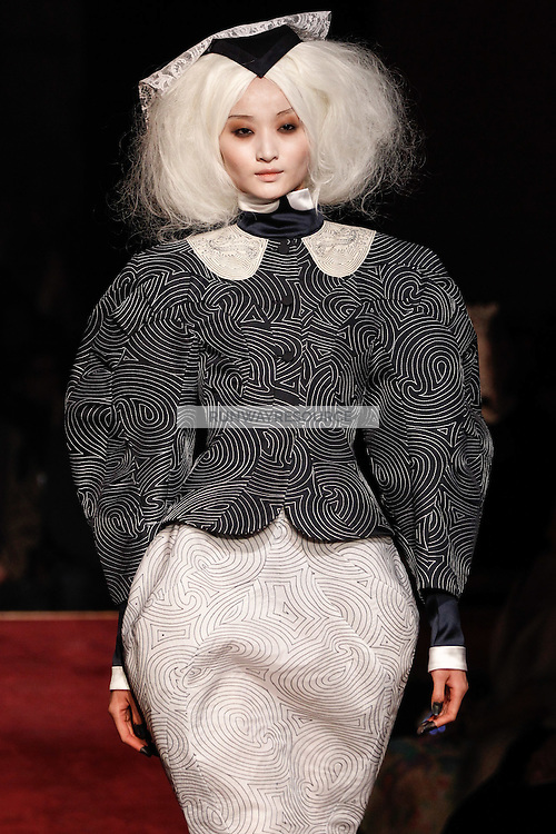 Liu Xu walks the runway wearing Thom Browne Fall 2014 Collection, <br /> Thom Browne (Designer)<br /> Jimmy Paul (Hair Stylist)<br /> Sil Bruinsma (Makeup Artist)<br /> Edward Kim (Casting Director)<br /> Julie Kandalec (Manicurist)