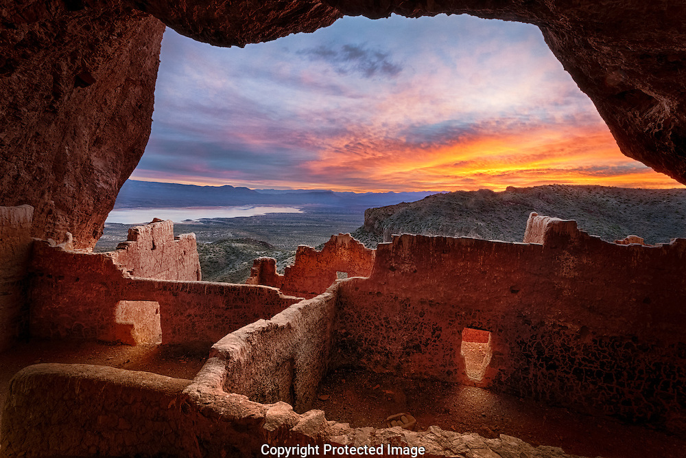 Tonto National Monument, Upper Cliff Dwelling, Salado culture, sunrise, Arizona