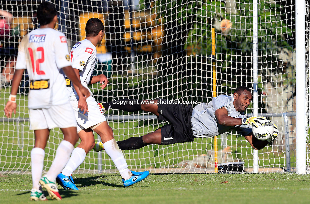 Amicale keeper Chikau Mansale makes a save. OFC Champions League 2013, 2nd Leg Semi Final, Waitakere United v Amicale FC, Fred Taylor Park Waitakere, Sunday 12th May 2013. Photo: Shane Wenzlick