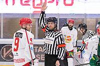 2019-12-14 | Umeå, Sweden: Referee gives a penalty for fighting in HockeyAllsvenskan during the game  between Björklöven and Almtuna at A3 Arena ( Photo by: Michael Lundström | Swe Press Photo )<br /> <br /> Keywords: Umeå, Hockey, HockeyAllsvenskan, A3 Arena, Björklöven, Almtuna, mlba191214