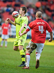 LONDON, ENGLAND - Saturday, January 30, 2010: Charlton Athletic's Nicky Bailey and Tranmere Rovers' Gareth Edds in action during the Football League One match at the Valley. (Photo by Gareth Davies/Propaganda)
