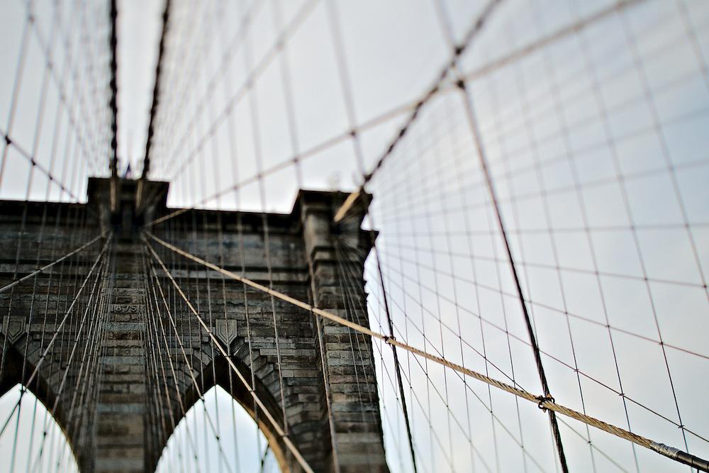 Brooklyn tower of Brooklyn Bridge, New York, NY