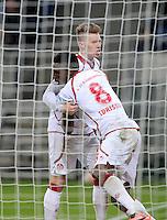 Fussball 1. Bundesliga 2012/2013: Relegation  Bundesliga / 2. Liga  TSG 1899 Hoffenheim  - 1. FC Kaiserslautern          23.05.2013 Mitchell Weiser (li) und Mohamadou Idrissou (re, beide 1. FC Kaiserslautern) jubeln nach dem 2:1