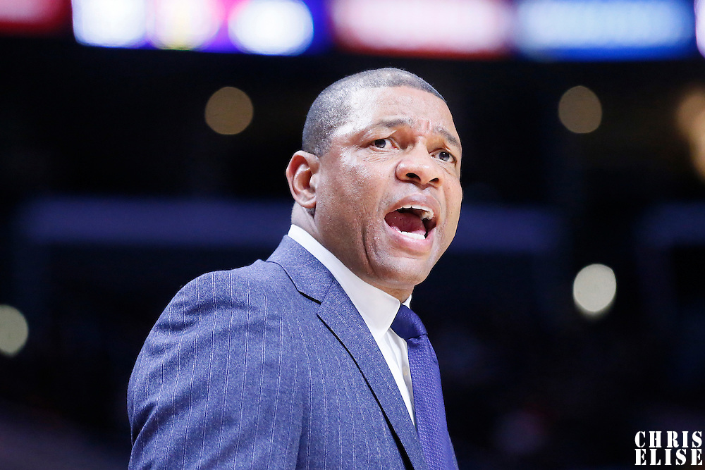01 December 2014: Los Angeles Clippers head coach Doc Rivers reacts during the Los Angeles Clippers 127-101 victory over the Minnesota Timberwolves, at the Staples Center, Los Angeles, California, USA.