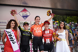 Top three on the stage: Marianne Vos (NED), Annemiek van Vleuten (NED) and Lucinda Brand (NED) at Stage 2 of 2019 Giro Rosa Iccrea, an 78.3 km road race starting and finishing in Viù, Italy on July 6, 2019. Photo by Sean Robinson/velofocus.com