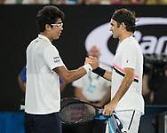 HYEON CHUNG (KOR) gratuliert dem Sieger ROGER FEDERER (SUI)<br /> <br /> Tennis - Australian Open 2018 - Grand Slam / ATP / WTA -  Melbourne  Park - Melbourne - Victoria - Australia  - 26 January 2018.