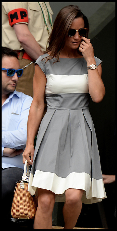 Image ©Licensed to i-Images Picture Agency. 06/07/2014. London, United Kingdom. Pippa Middleton watches the Mens 2014 Wimbledon final  between Rodger Federer and Novak Djokovic  on Centre court.  Picture by Andrew Parsons / i-Images