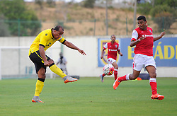 Aston Villa's Gabriel Agbonlahor hits the cross bar  - Photo mandatory by-line: Joe Meredith/JMP - Mobile: 07966 386802 - 17/07/2015 - SPORT - Football - Albufeira - Estadio Da Nora - Pre-Season Friendly