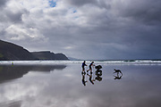 Achill island. Atlantic Drive. Keel beach, 3 km long, in the back the Cathedral Rocks cliffs.