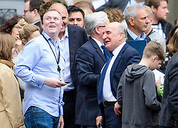 © Licensed to London News Pictures. 21/08/2017. London, UK.  MP STEPHEN POUND (right) gathers with other MPs and member of the media in the grounds of The Houses of Parliament Parliament at mid day as Big Ben chimes for the last time ahead of repair works. The Great Bell, also known as Big Ben, is expected to be silent for up to four years as renovation work is carried out on the surrounding Elizabeth Clock Tower. The worlds most famous clock has sounded on the hour for 157 years and last fell silent for maintenance work in 2007. Photo credit: Ben Cawthra/LNP