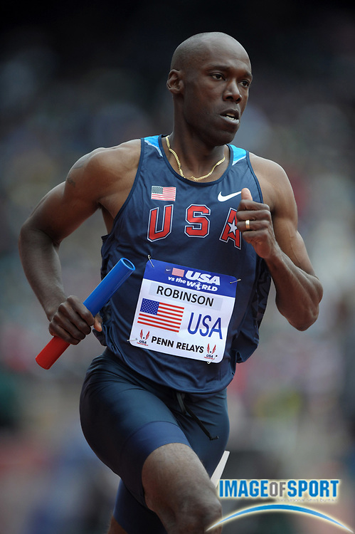 Apr 28, 2012; Philadelphia, PA, USA; Khadevis Robinson runs the 800m leg on the USA Blue distance medley relay that won the USA vs The World race in 9:19.31 in the 118th Penn Relays at Franklin Field.