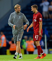 BLACKBURN, ENGLAND - Thursday, July 19, 2018: Liverpool's manager Jürgen Klopp and Nathaniel Phillips after a preseason friendly match between Blackburn Rovers FC and Liverpool FC at Ewood Park. (Pic by David Rawcliffe/Propaganda)