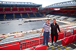 LIVERPOOL, ENGLAND - Sunday, June 18, 2017: Barry Cowan and Marcus Willis visit Anfield during Day Four of the Liverpool Hope University International Tennis Tournament 2017. (Pic by David Rawcliffe/Propaganda)